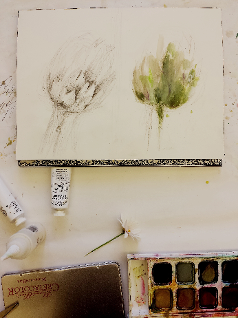 a painting of an artichoke in process