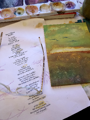 painting with glasses and poem