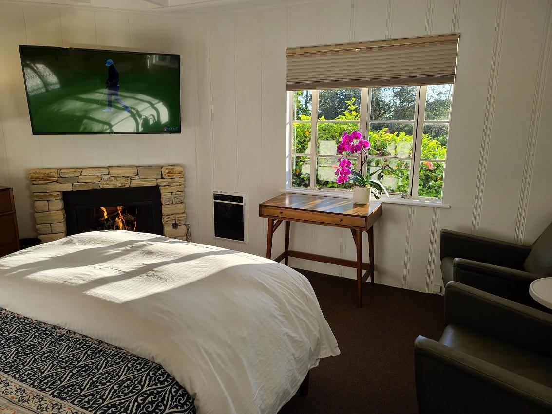 Bed, Fireplace, Dresser, TV