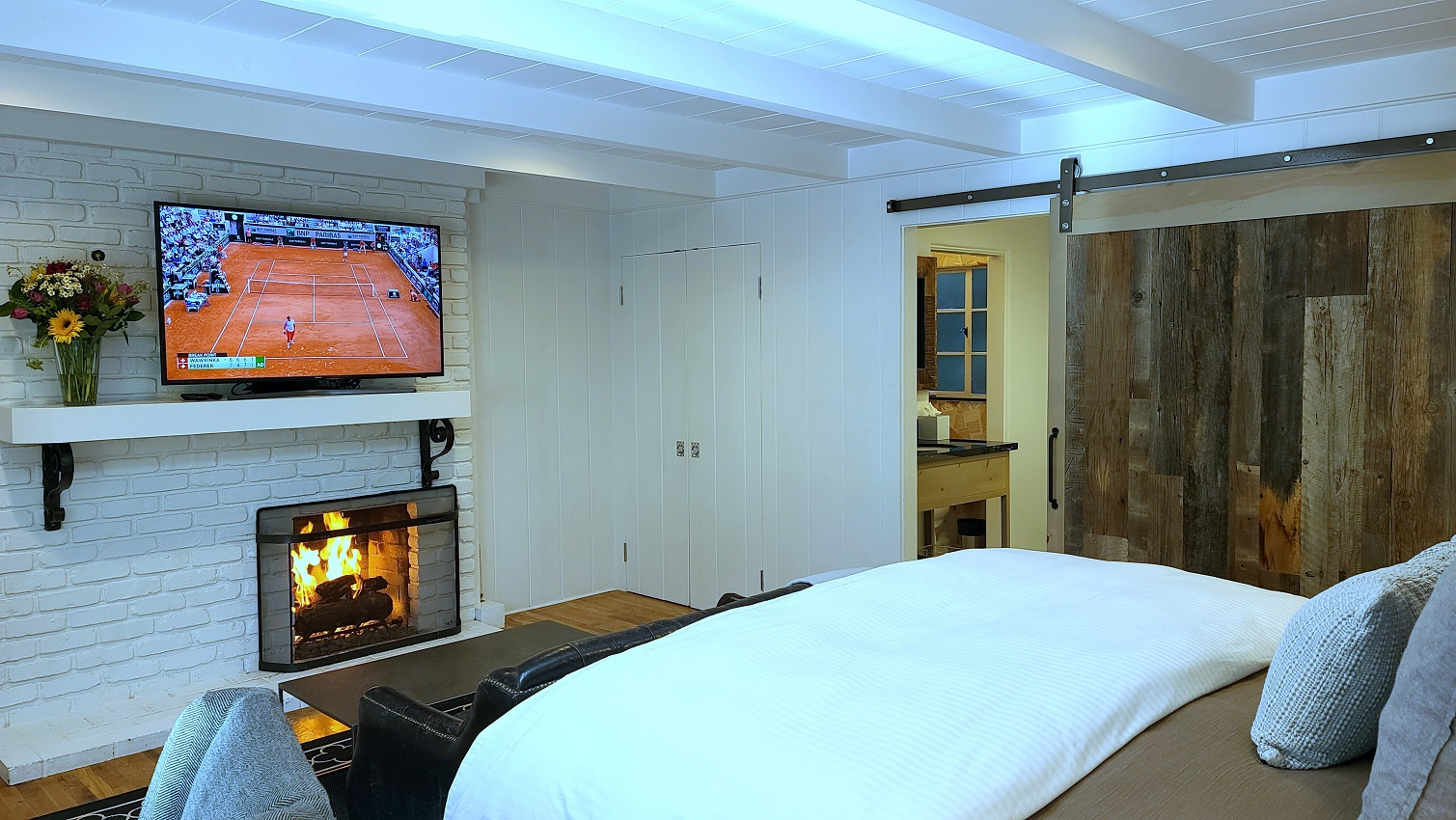 TV, Bed, Fireplace, and bathroom