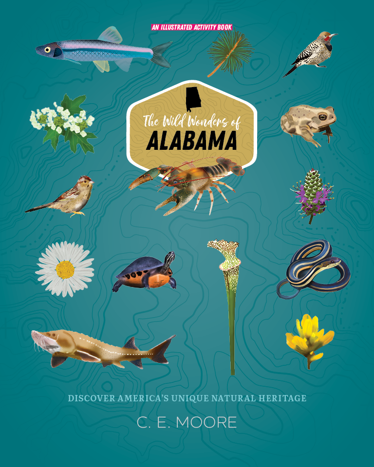 The Wild Wonders of Alabama book cover showing a grid of plants and animals.