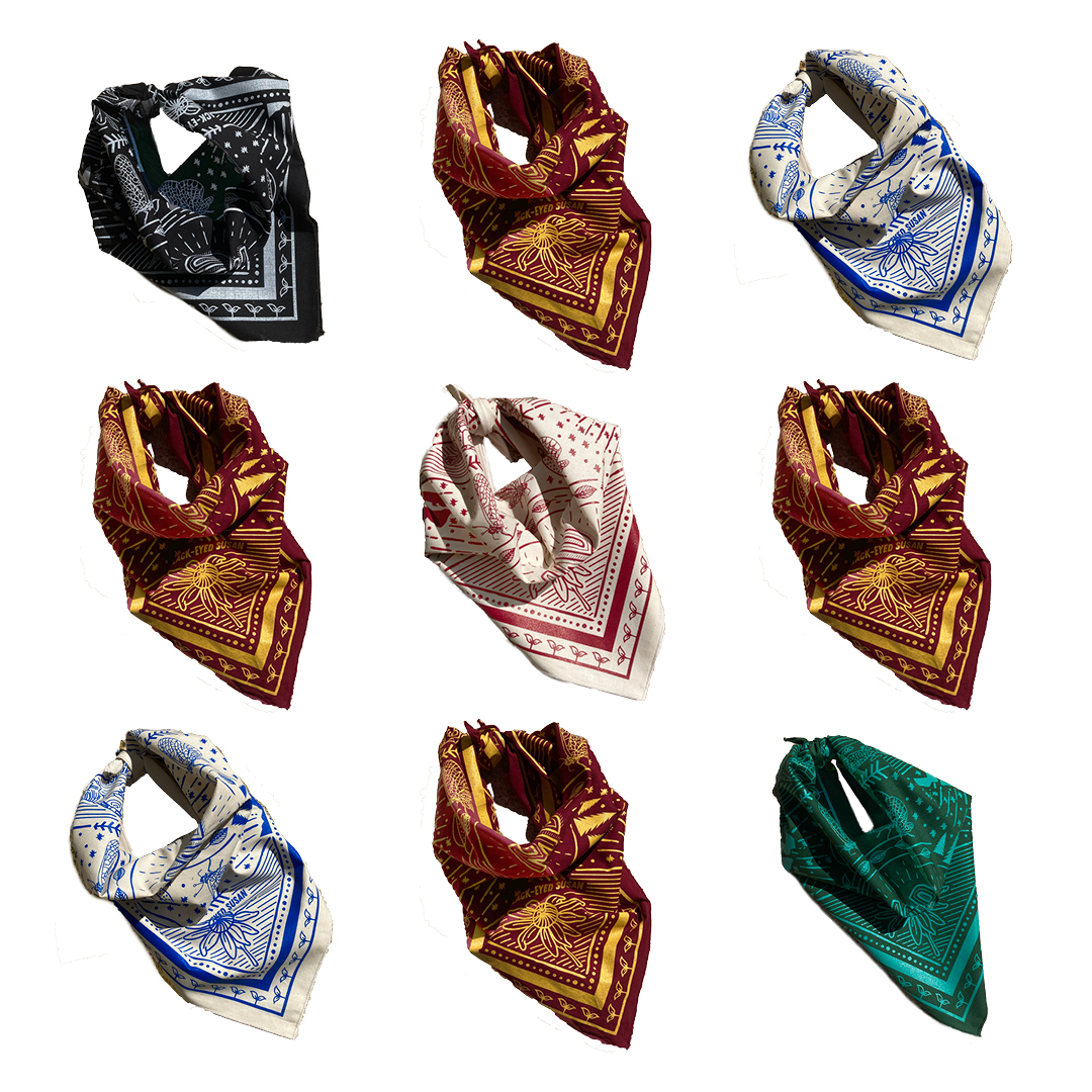 9 folded bandanas in black, maroon, green, and natural are shown in a 3 x 3 grid