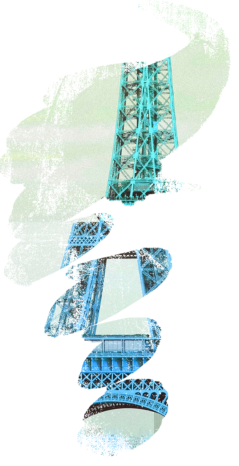 An abstract brushed image of the Eiffel tower