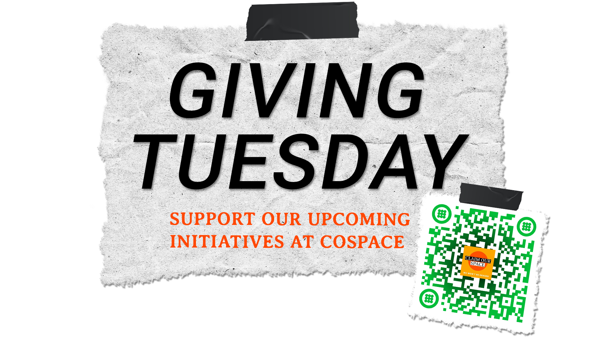 Banner for our Giving Tuesday call to action and QR code to donate