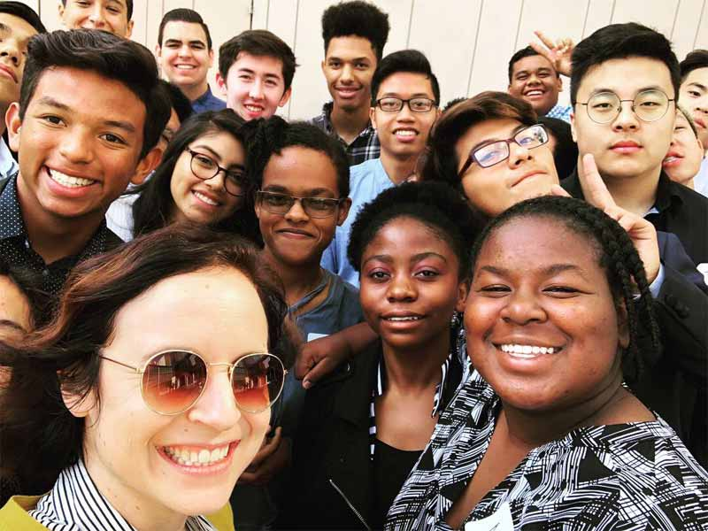 Photo of a smiling group of students