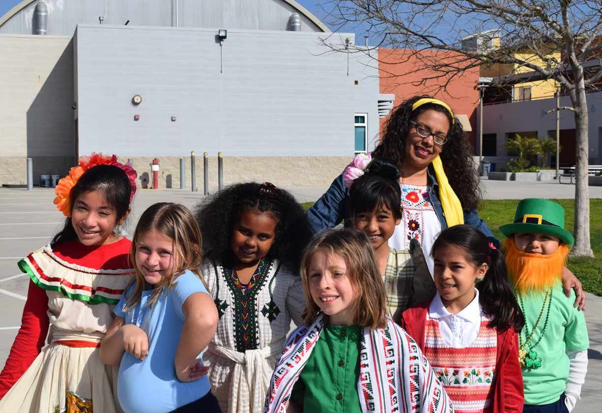 Elementary students celebrating different cultures