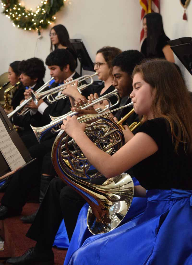 Students playing at a Christmas concert