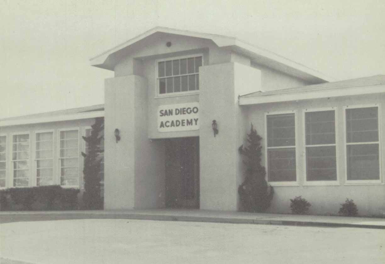 Sepia photo of San Diego Academy in 1966