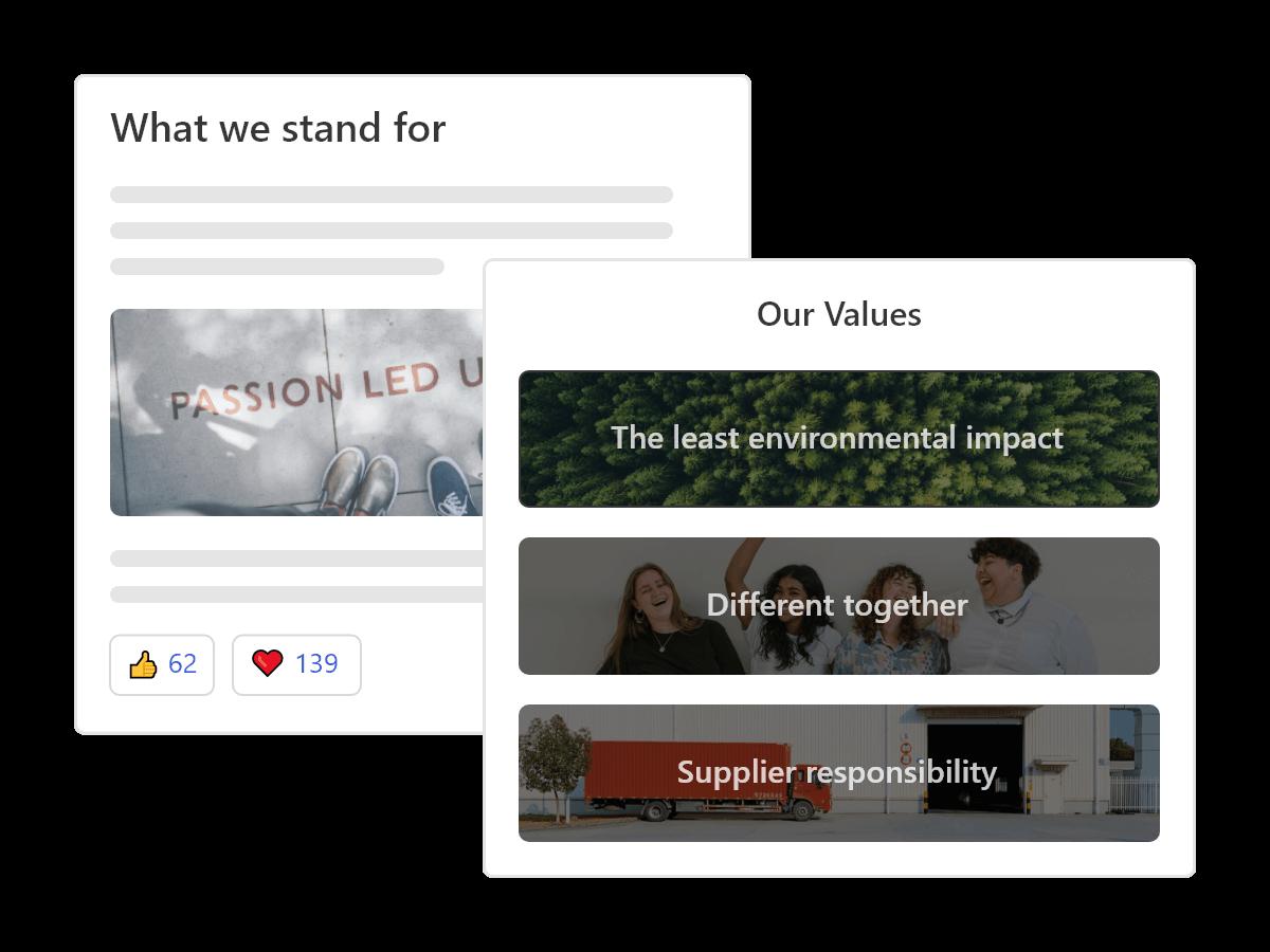 Eine Tafel mit Elementen der Unternehmenskultur, wie Vision, Mission, Werte und Ziele, um das Engagement der Mitarbeiter zu verbessern.
