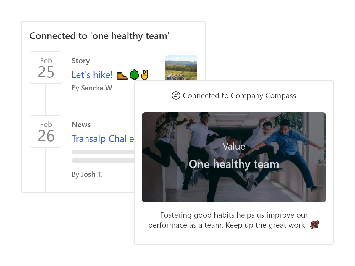 News and Stories that are connected to the company culture are displayed in a timeline.