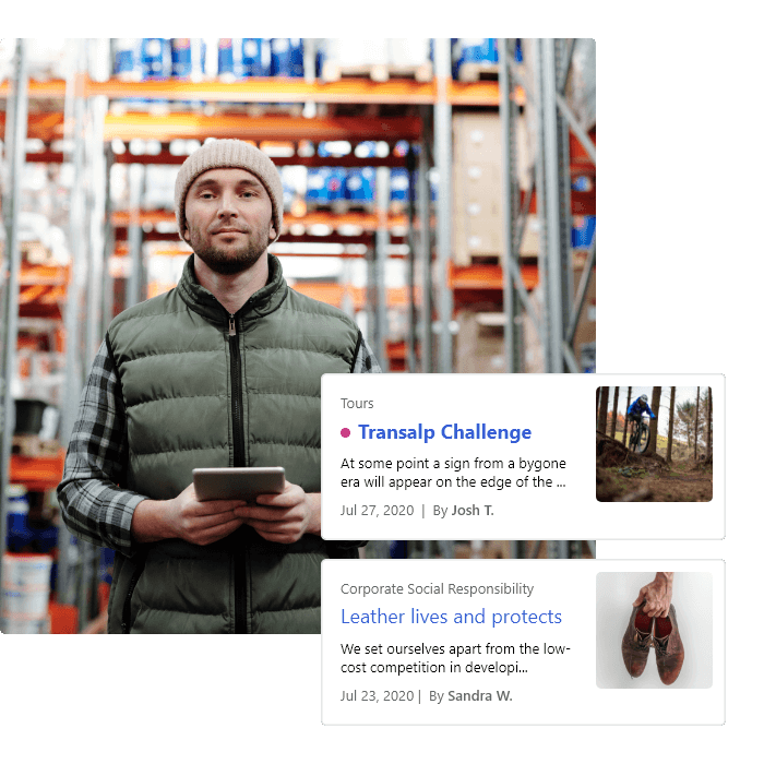 A warehouse worker with a tablet receives the latest news through his company's intranet.