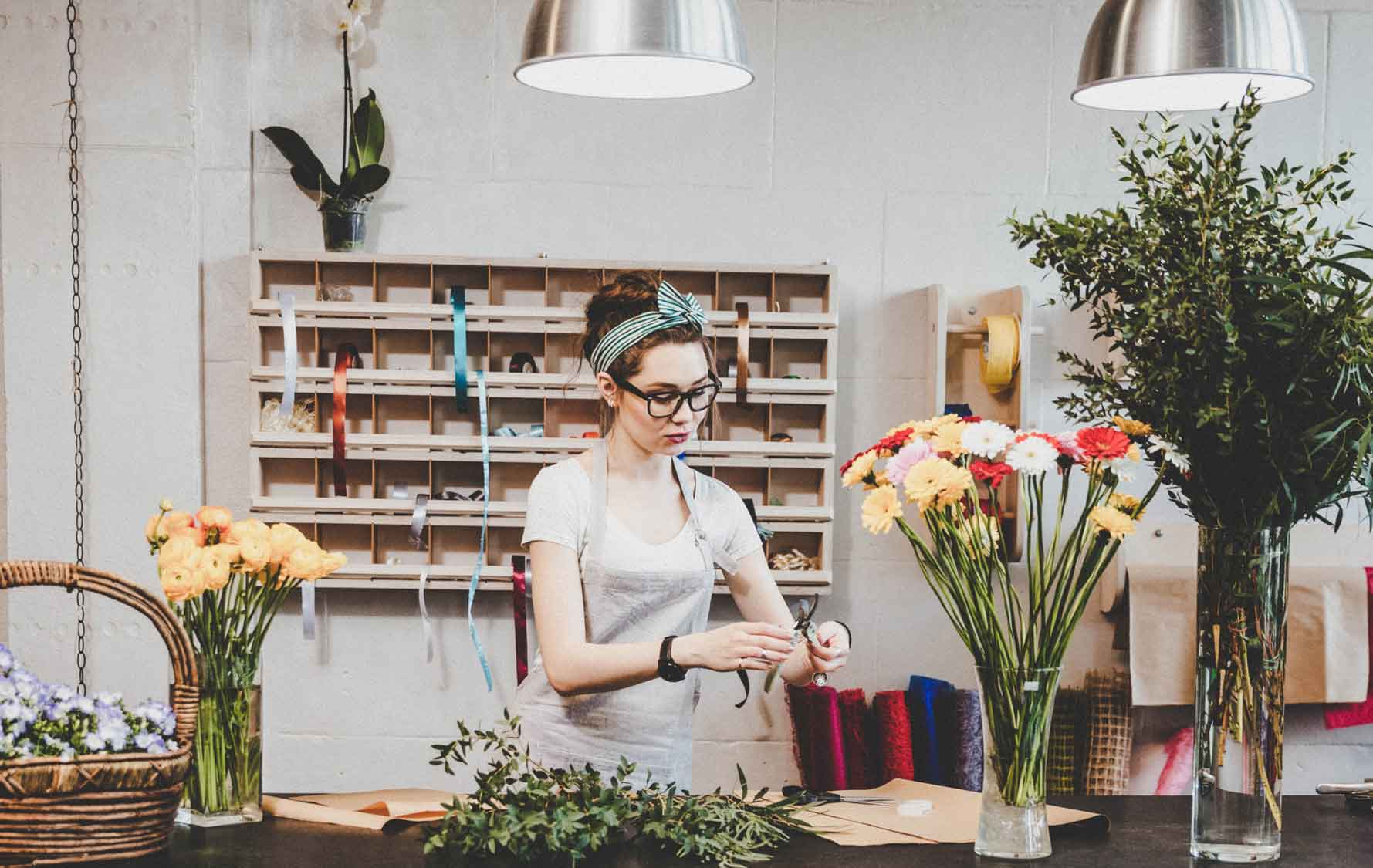 Swiss florist at work