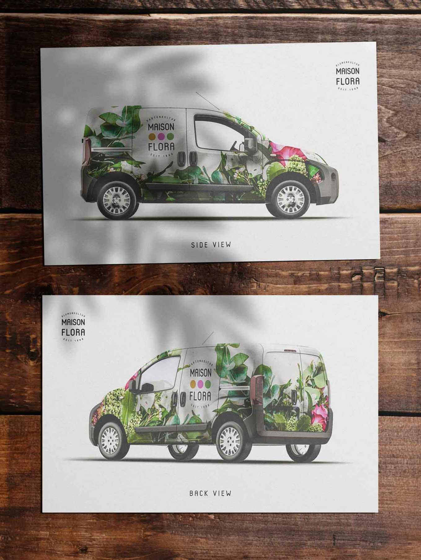 Vehicle lettering design for florist Switzerland