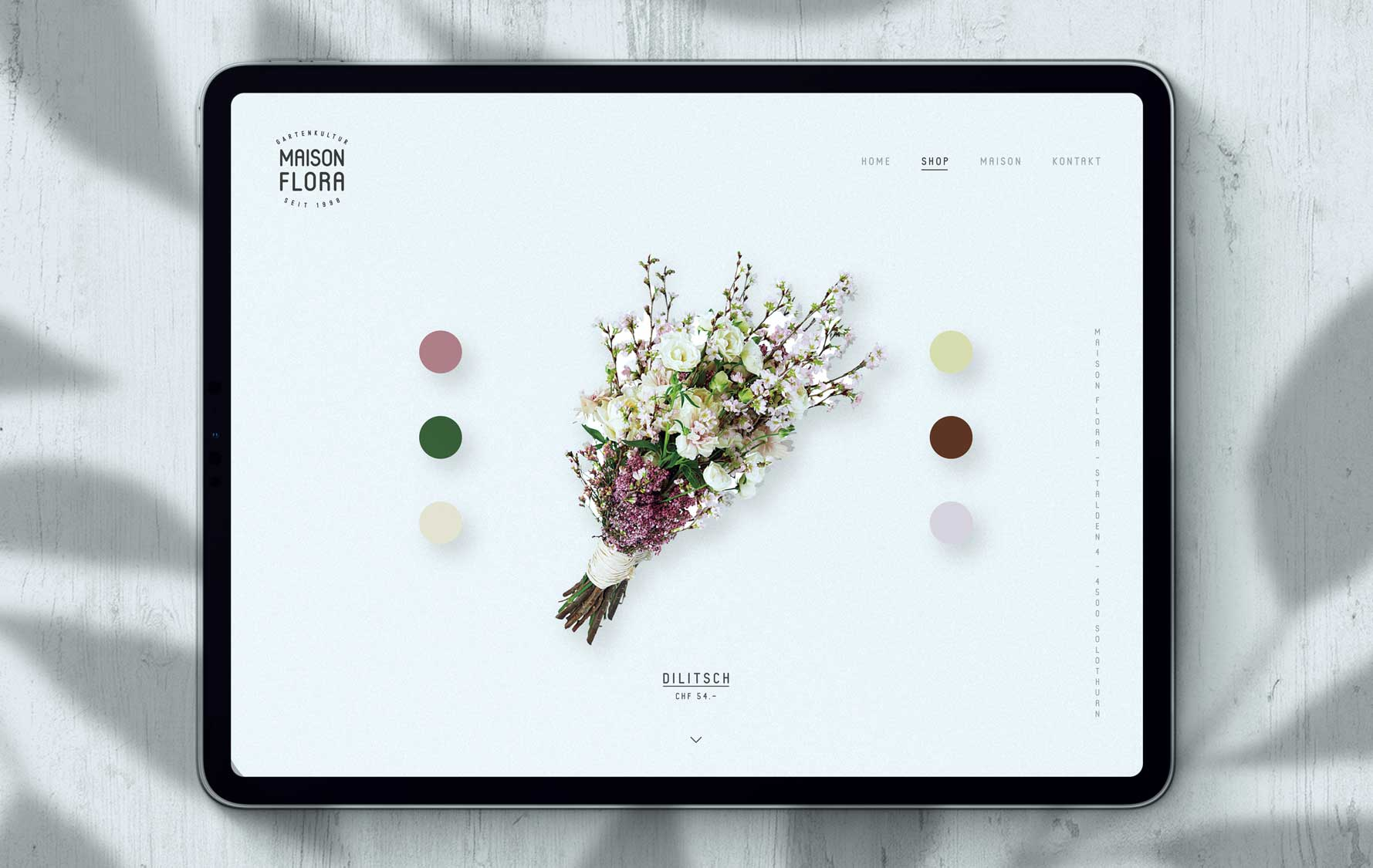 Onlineshop and webdesign for florist shop from Bern