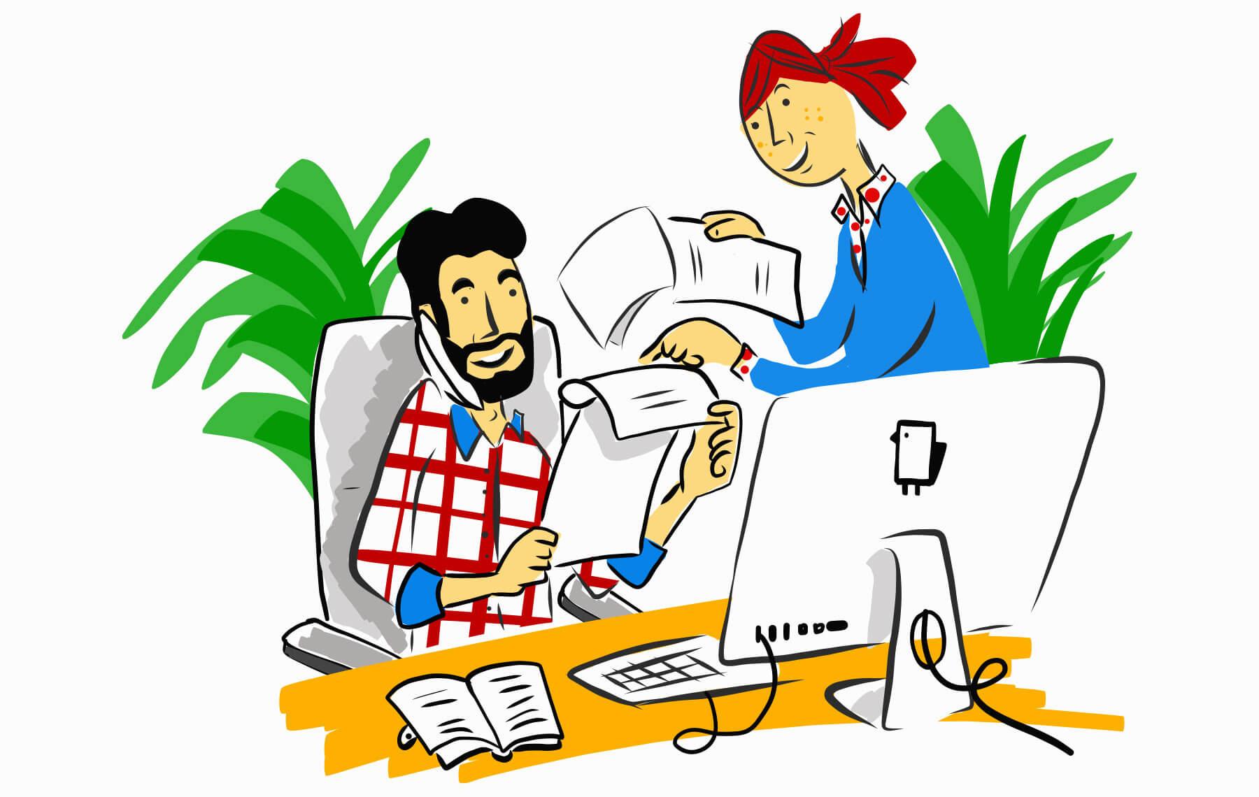 Illustration Arbeitsalltag Schweizer KMU