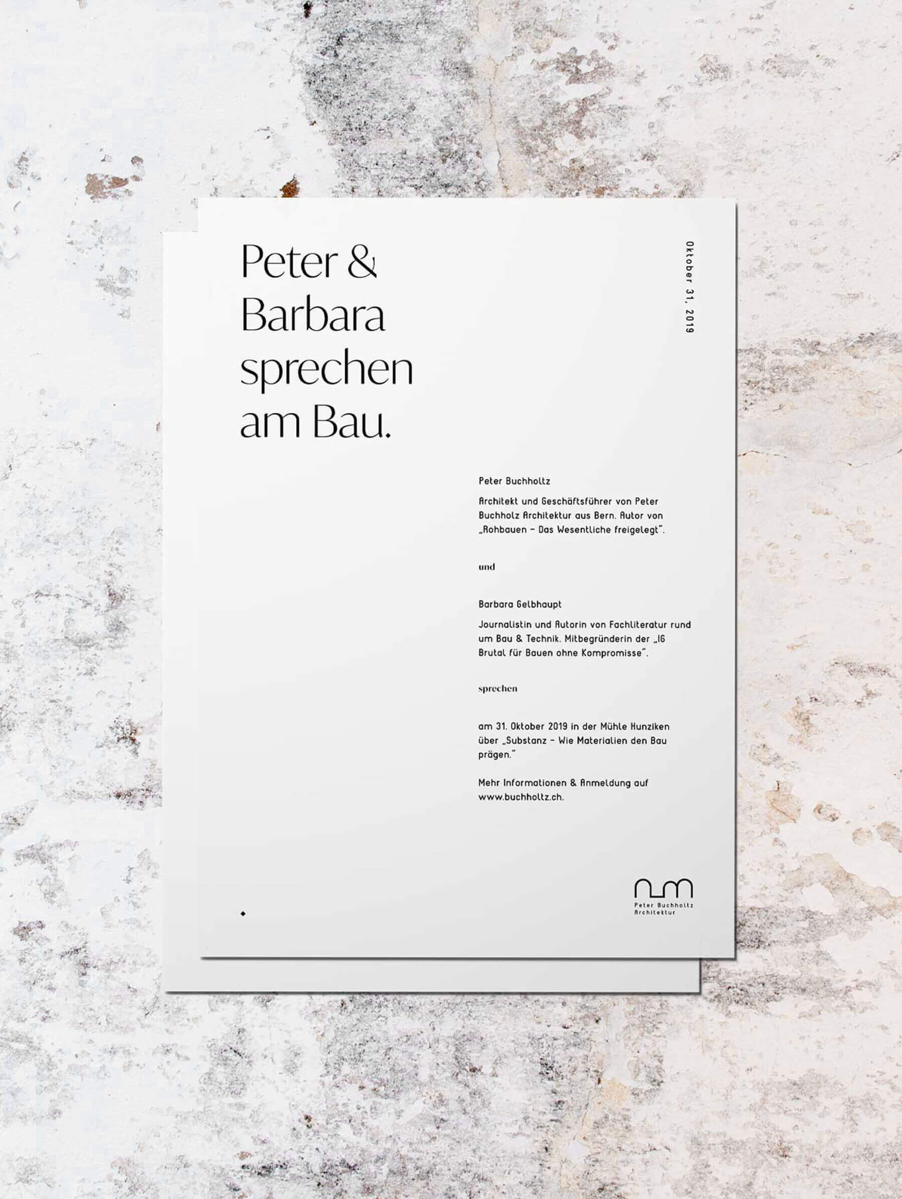 Letter and brief design for architect office Switzerland