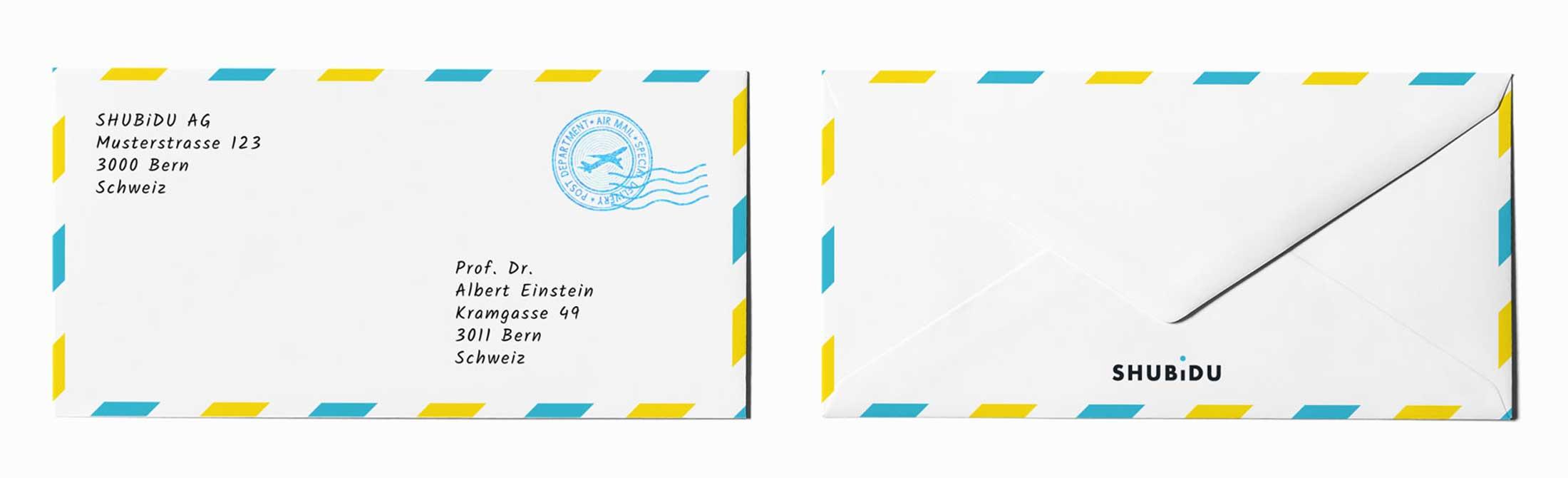 Design Briefumschlag als Teil von Branding für Schweizer App