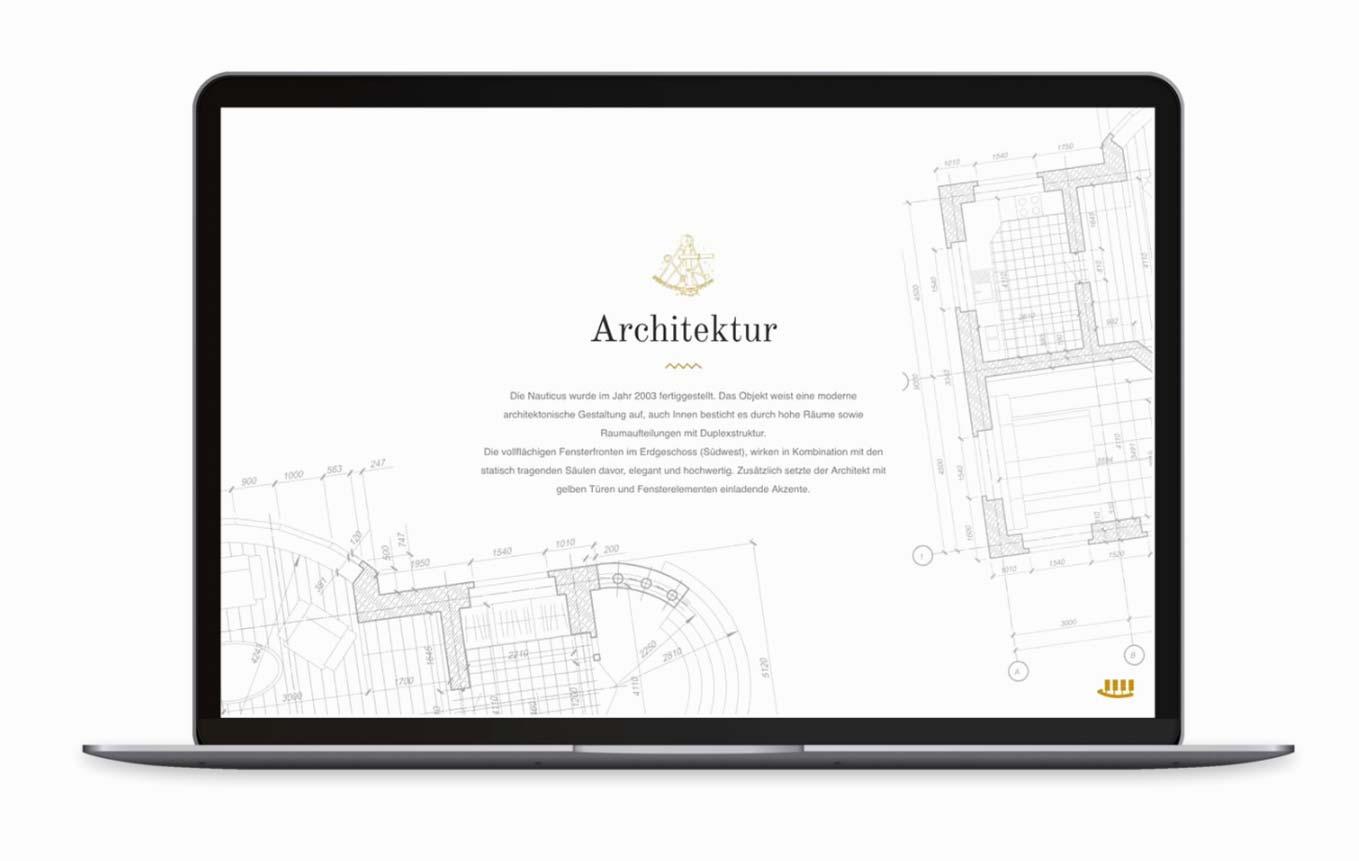Webdesign für Verkauf von Immobilie Seite Geschichte
