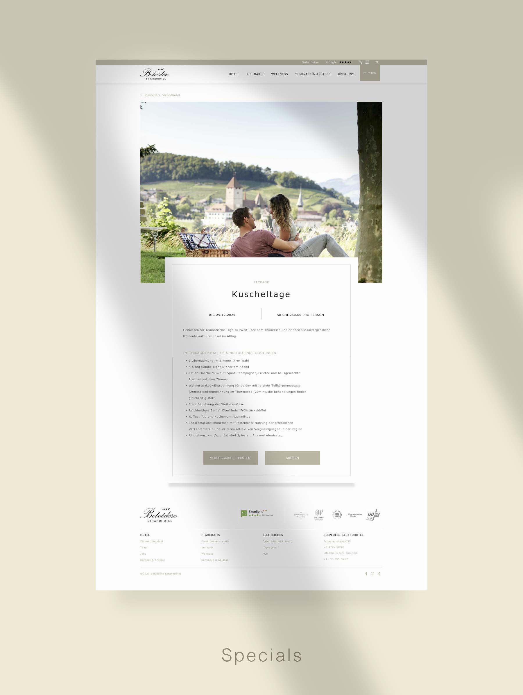 Landingpage for campaigns - Website development for Hotel Switzerland
