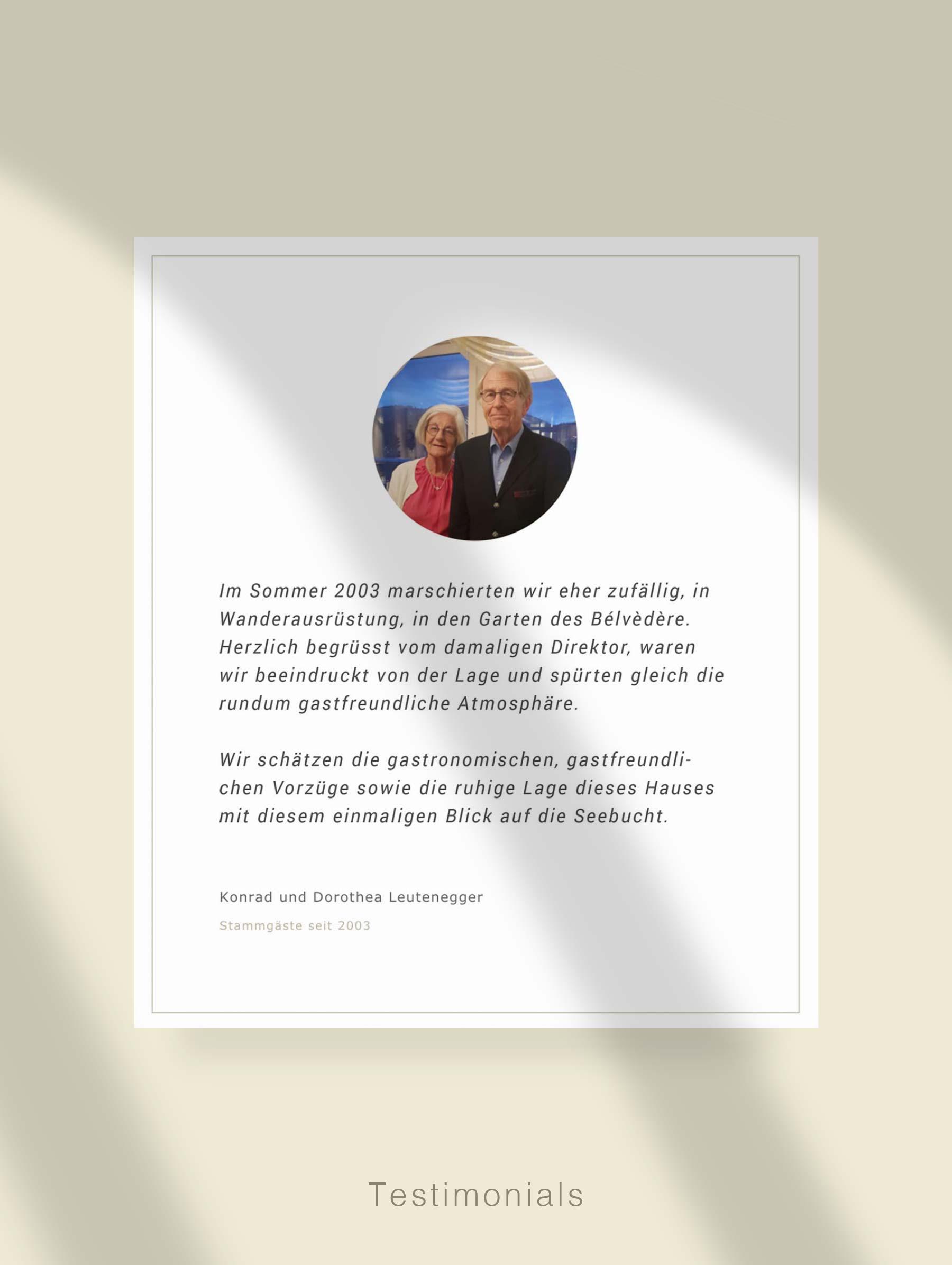 Module for customer quotes - Development website for Hotel Switzerland