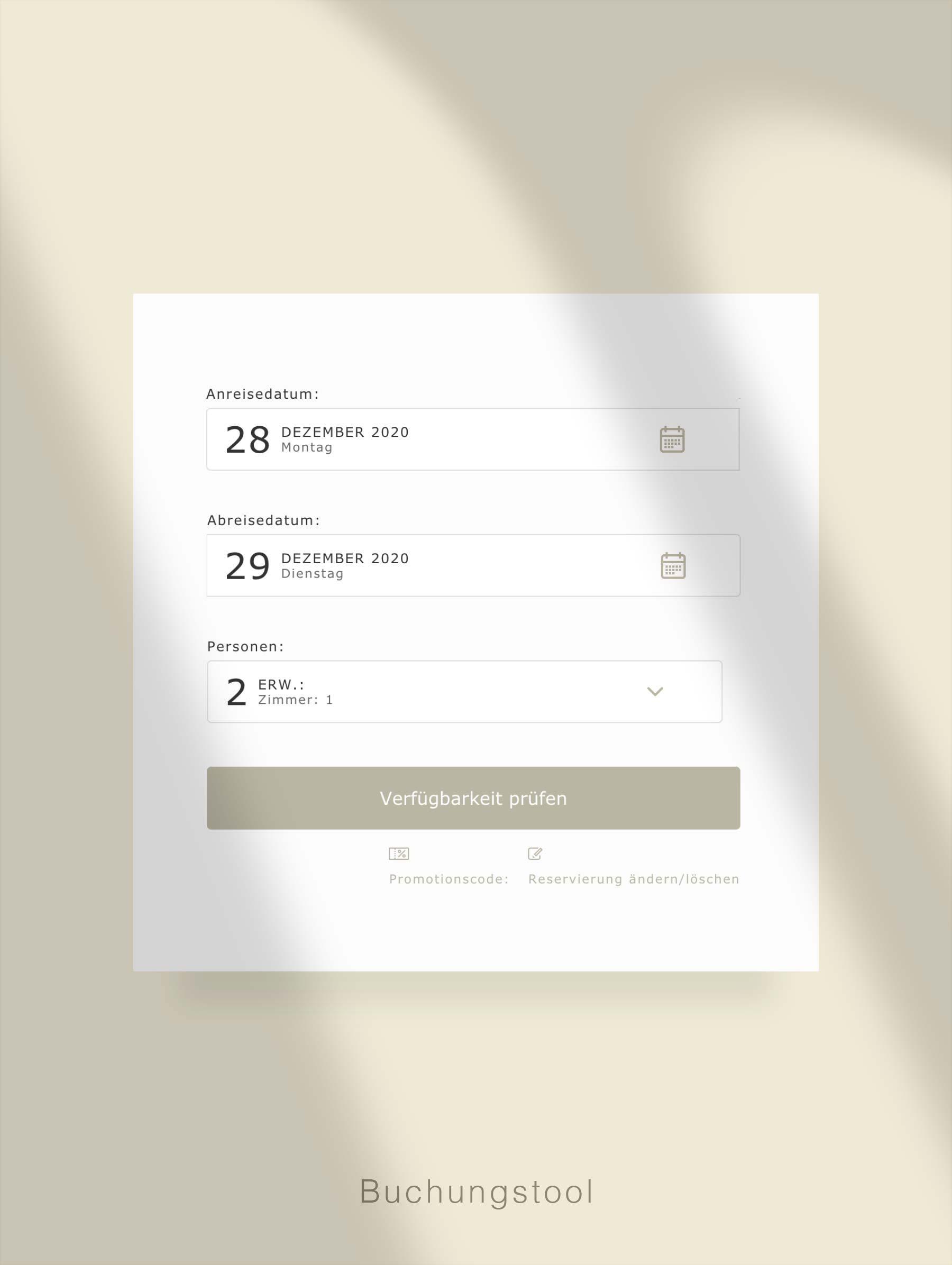 Book room on website - Development website for Hotel Switzerland