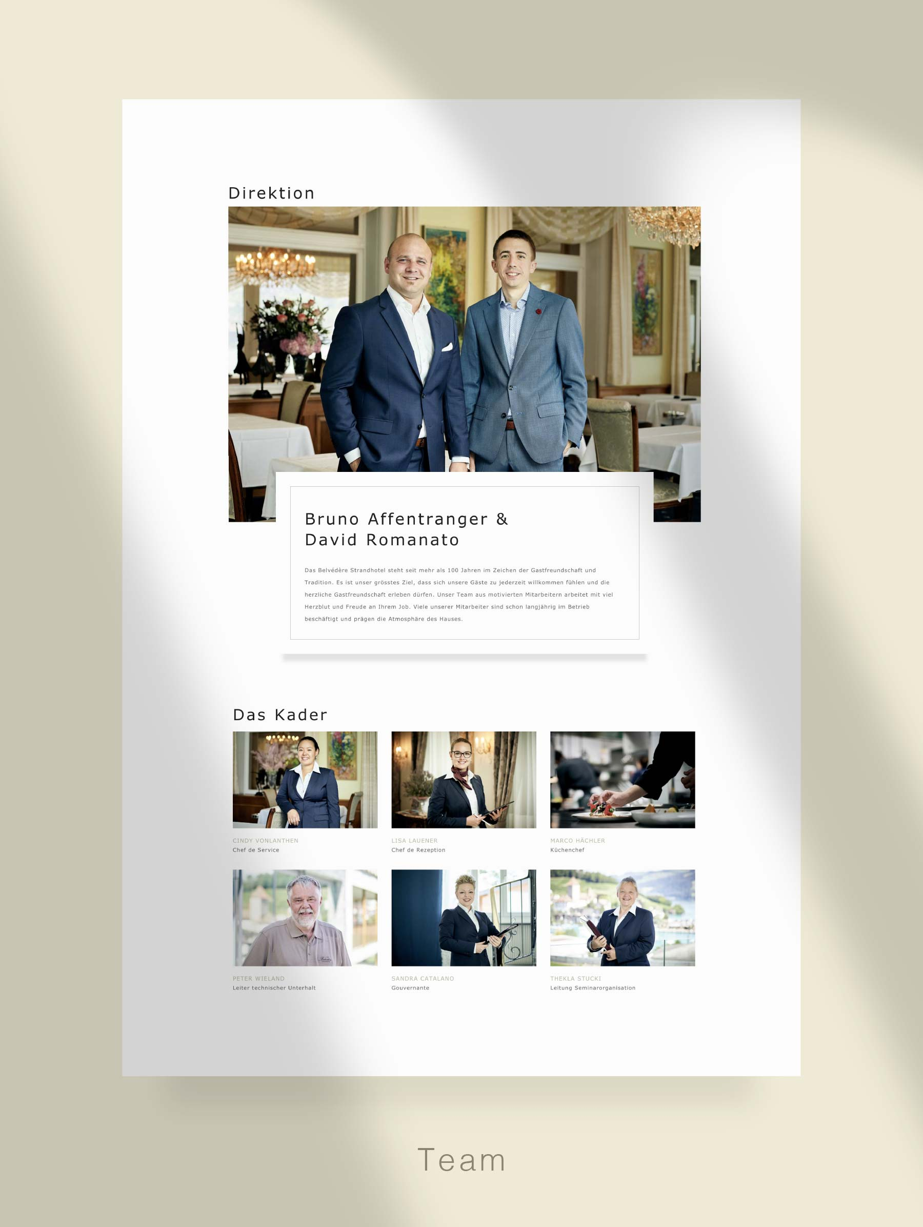 Page Team - Website development for Hotel Switzerland