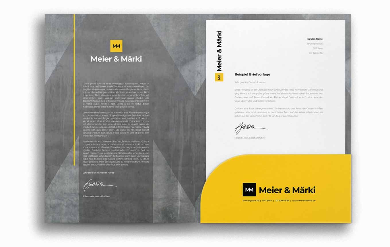Design Mappe und Brief für Anwaltskanzlei Schweiz