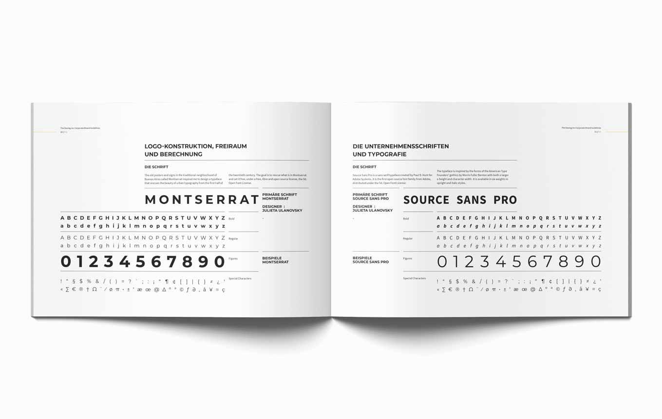 Schriften in Design Guide Branding Anwaltskanzlei Schweiz
