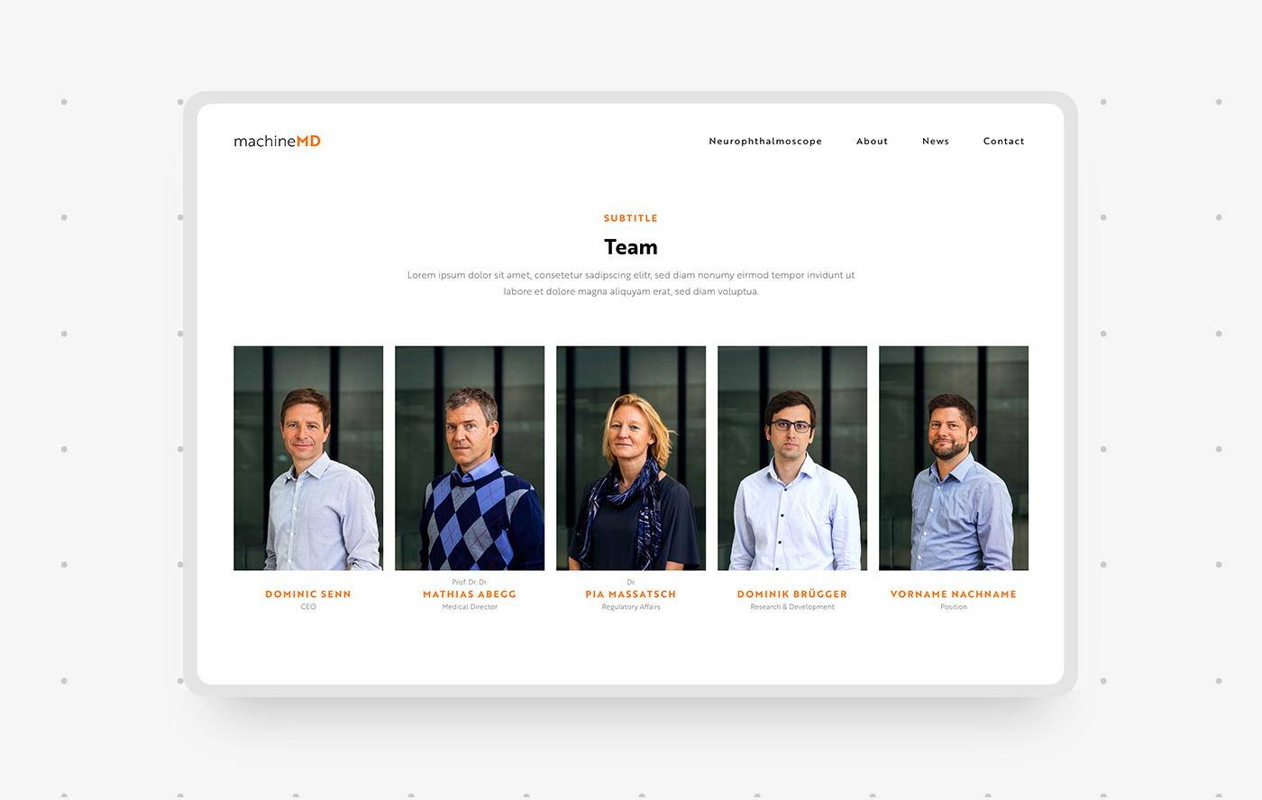 Gestaltung Seite Team auf Webseite von Schweizer Start-up
