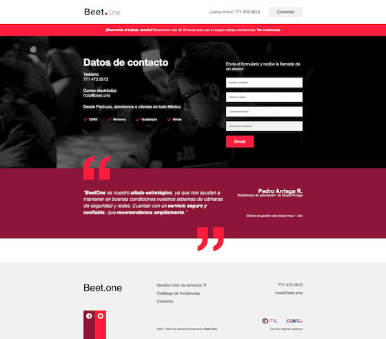 Sitio web Beet One