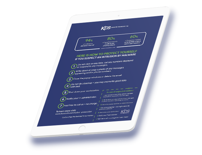tablet with a preview of the malware protection checklist pdf that is available for download, for free.