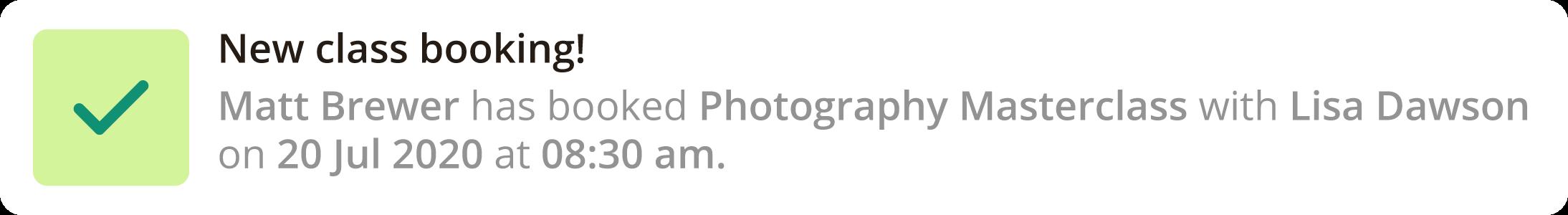 Online Booking Sample Notification
