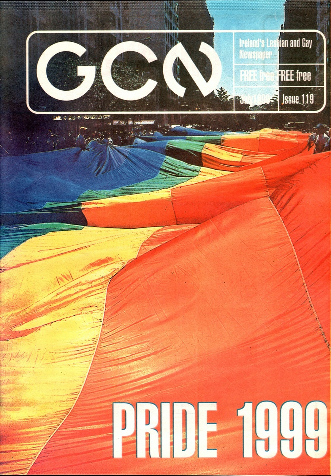 Some of GCN's covers from 1999 with a giant rainbow flag on the cover.