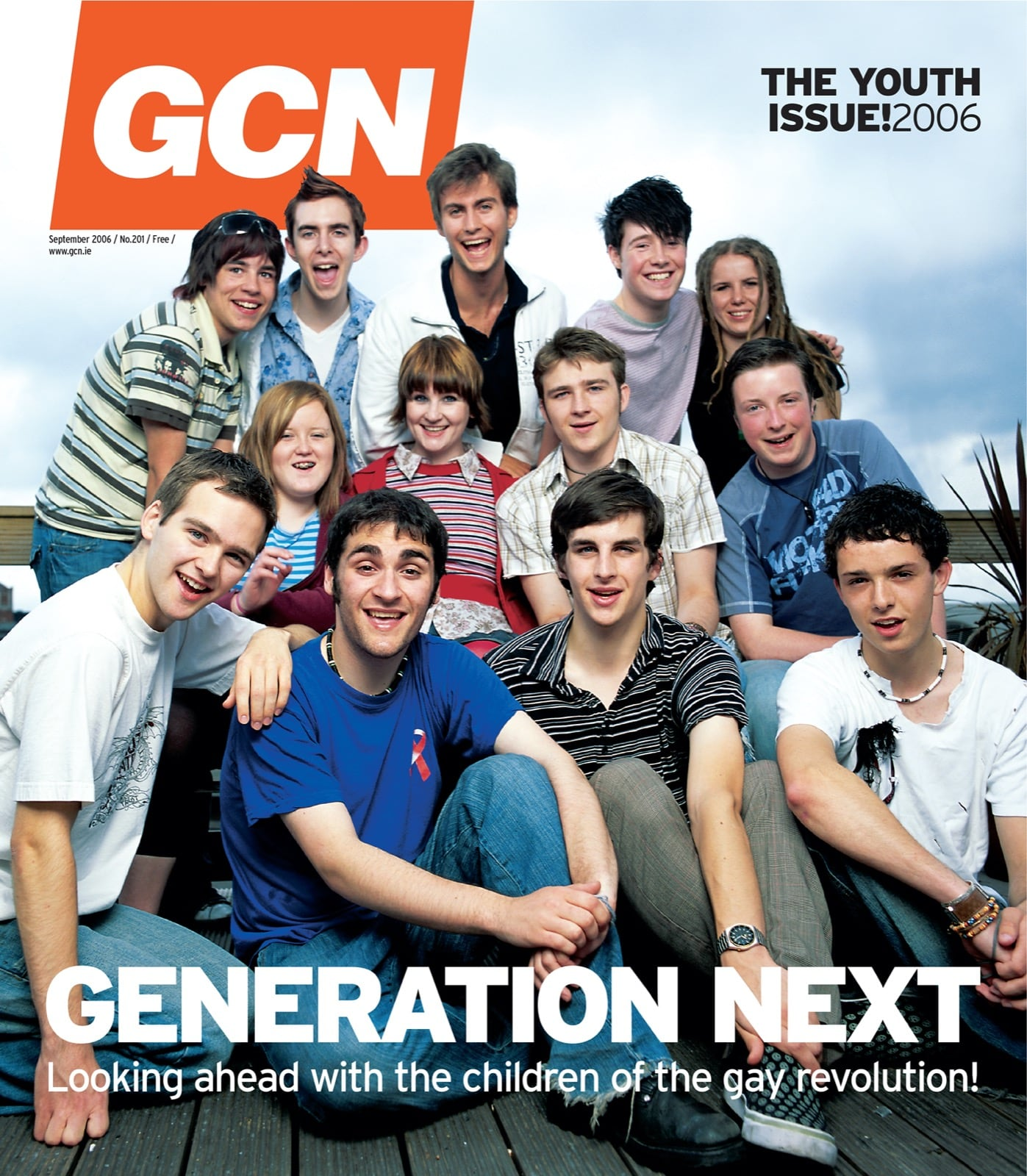 Some of GCN's covers from 2003 with about 10 LGBT youths on the cover.