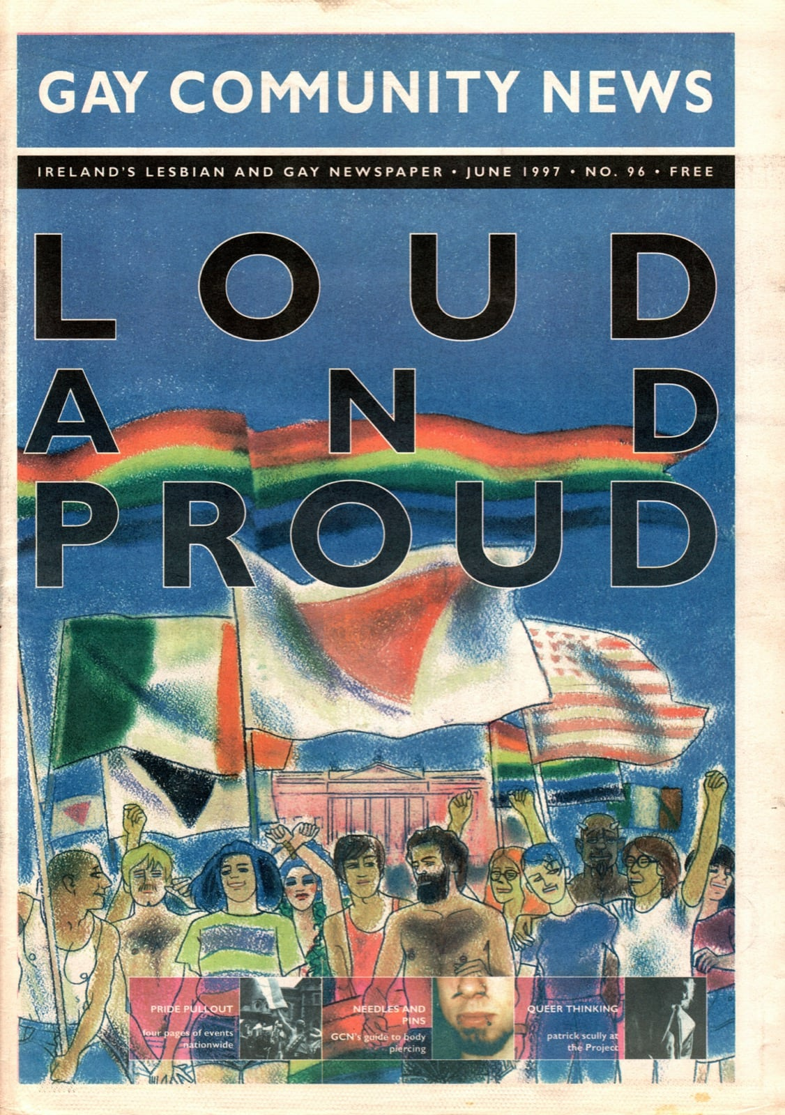 Some of GCN's covers from 1992 with an illustration of LGBT Irish people on the cover.