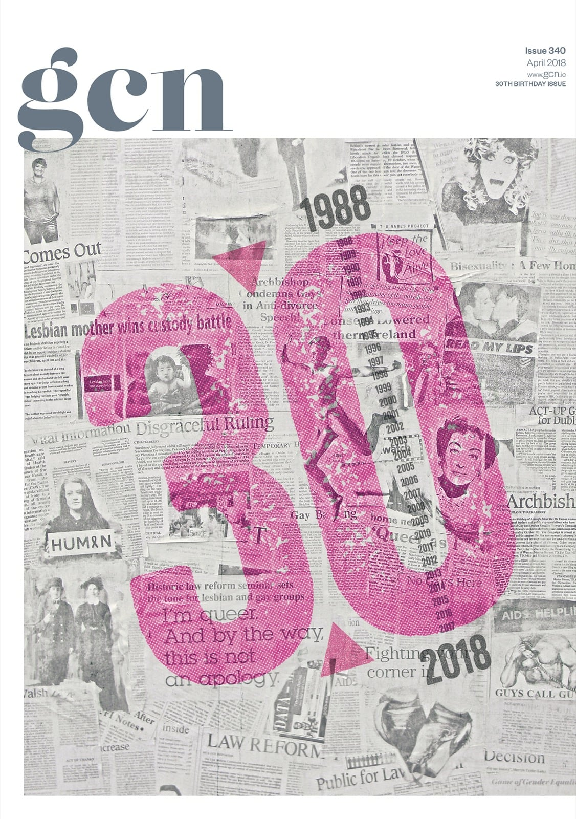Some of GCN's covers from 2017 with the number 30 written in pink over GCN covers from the previous 30 years.