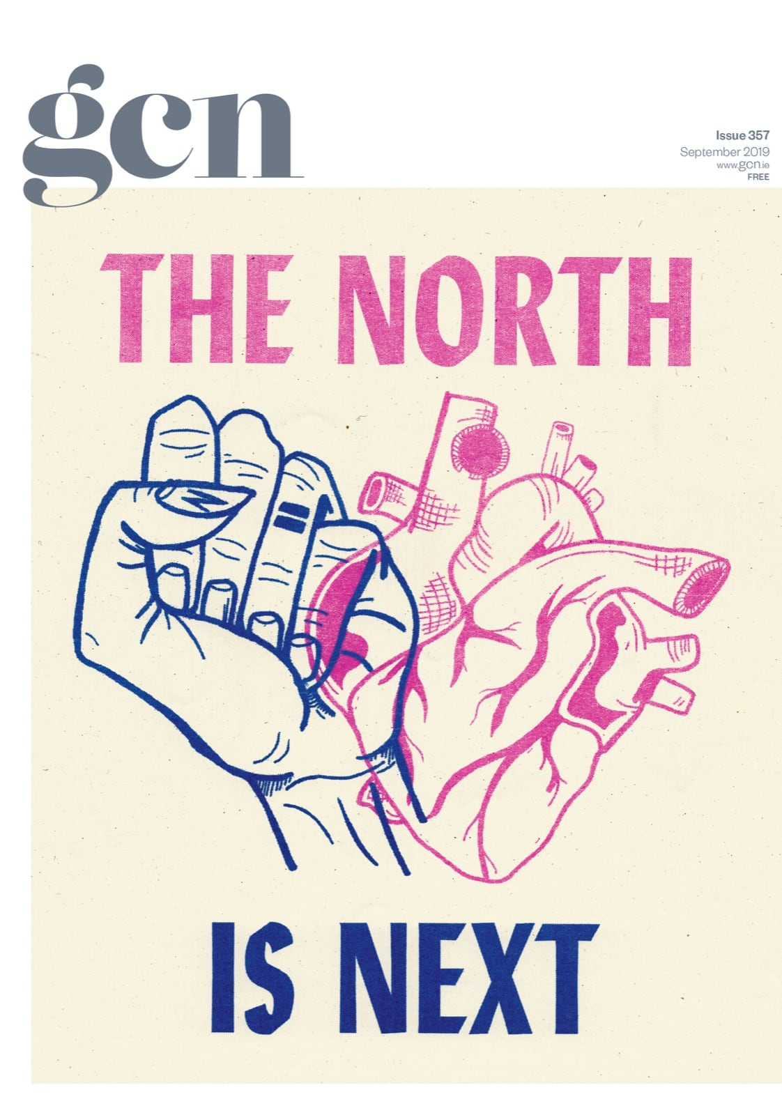 Some of GCN's covers from 2017 with an illustration of a fist and a heart on the cover and the words 'The North Is Next'.
