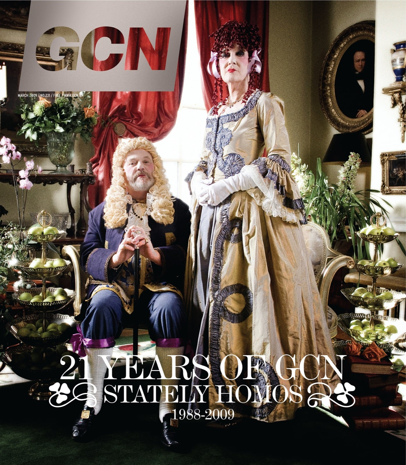 Some of GCN's covers from 2003 with two queer people in 18th century period costume.