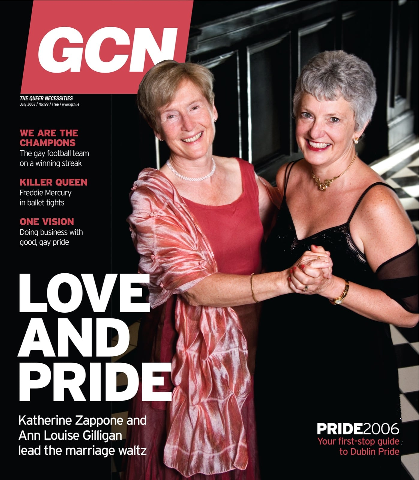 Some of GCN's covers from 2003 with Katherine Zappone and her wife Ann Louise Gilligan embracing on the cover.