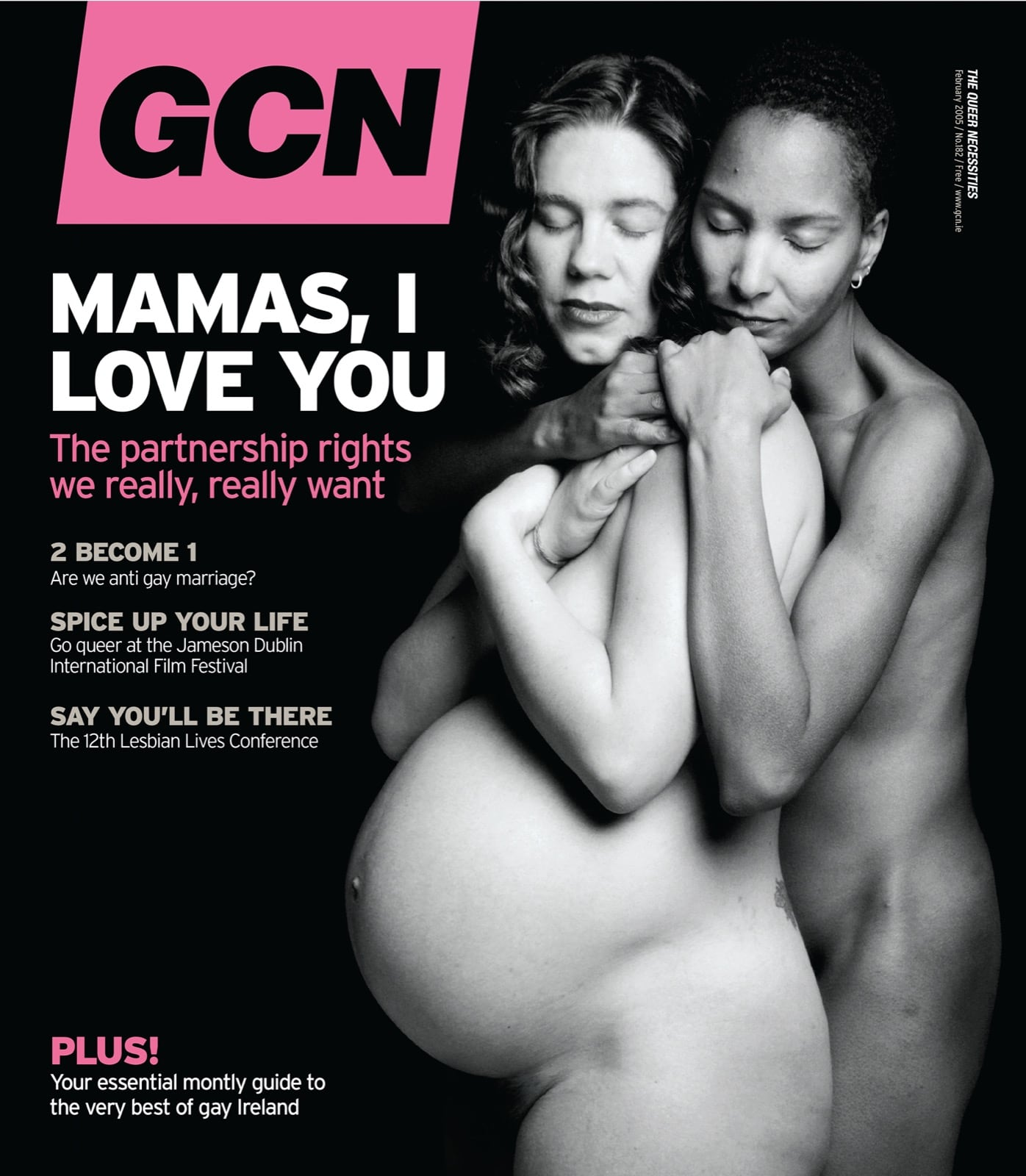 Some of GCN's covers from 2003 with a black and white photo of two women embracing while one of them is heavily pregnant.