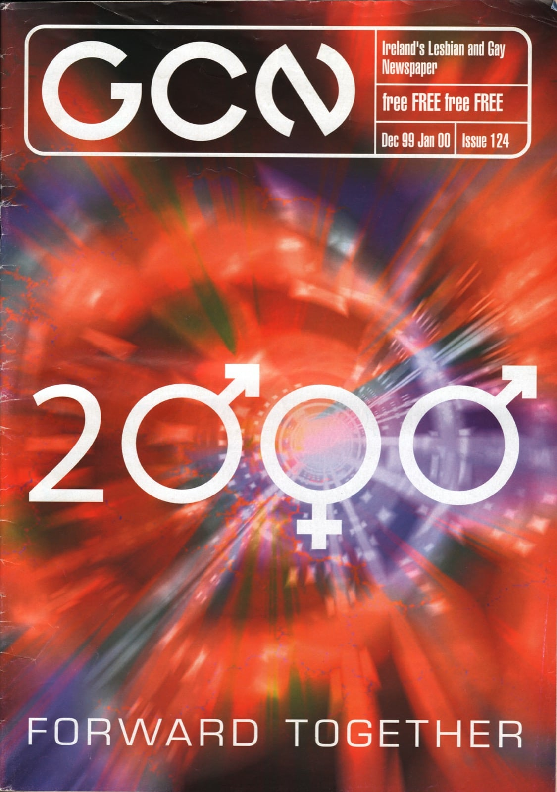 Some of GCN's covers from 1999 with '2000' on the cover, using gender symbols as the zeros.