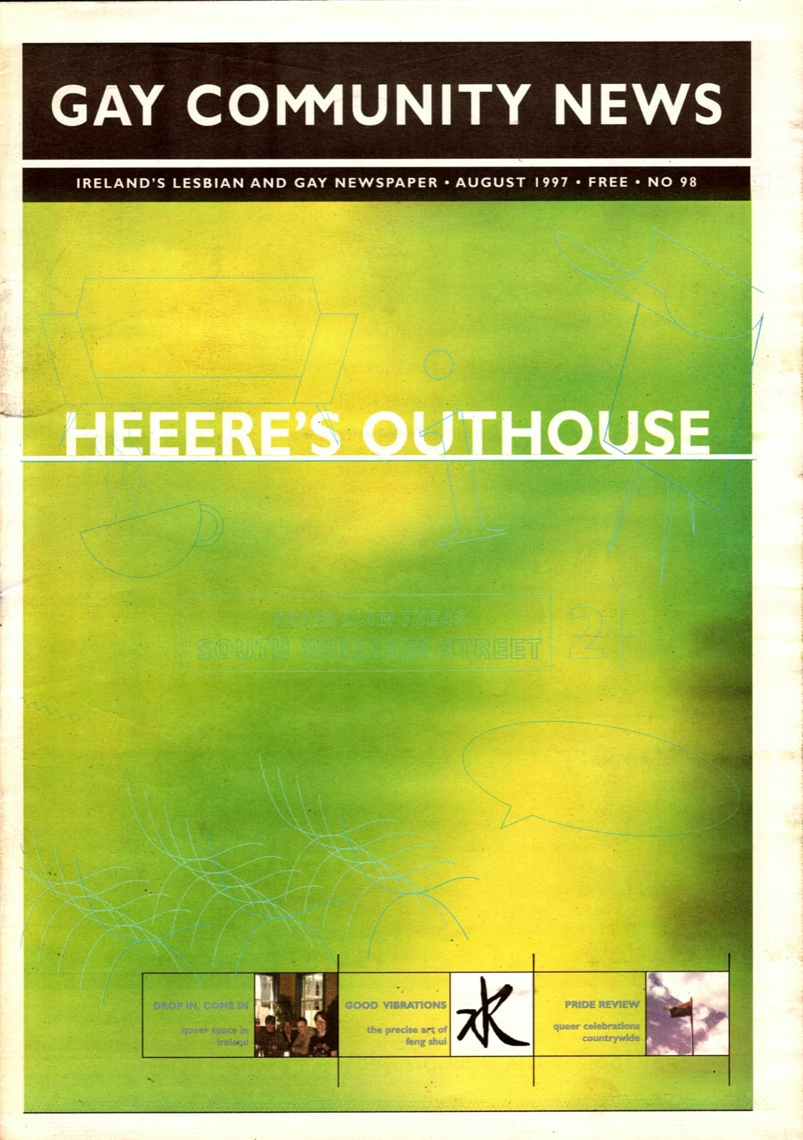 Some of GCN's covers from 1992 with a green graphic and the text 'here's outhouse'