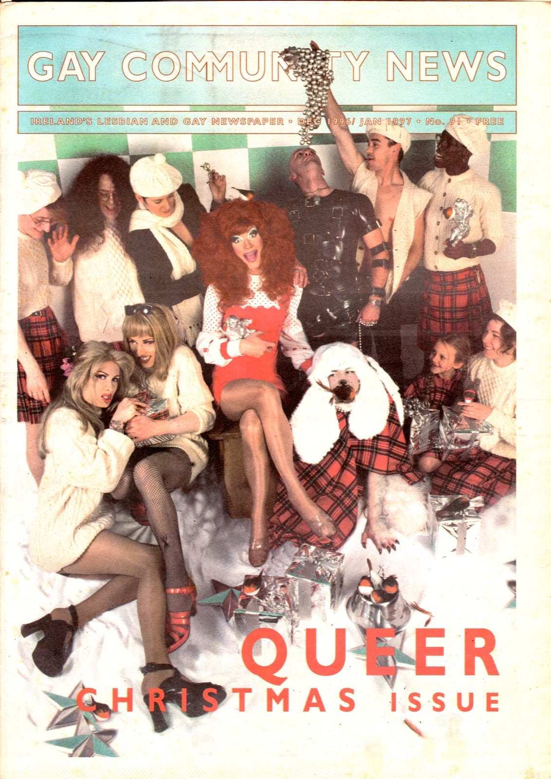 Some of GCN's covers from 1992 with drag queens and other LGBT+ people on the cover.