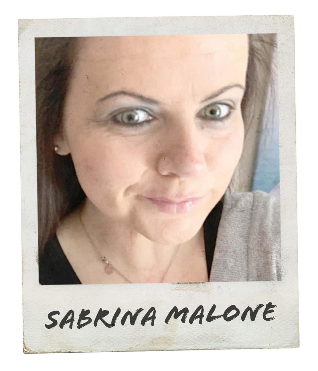 "Polaroid-style photo of woman taking a selfie for #mygcn campaign. Under the photo the caption reads ""Sabrina Malone""."