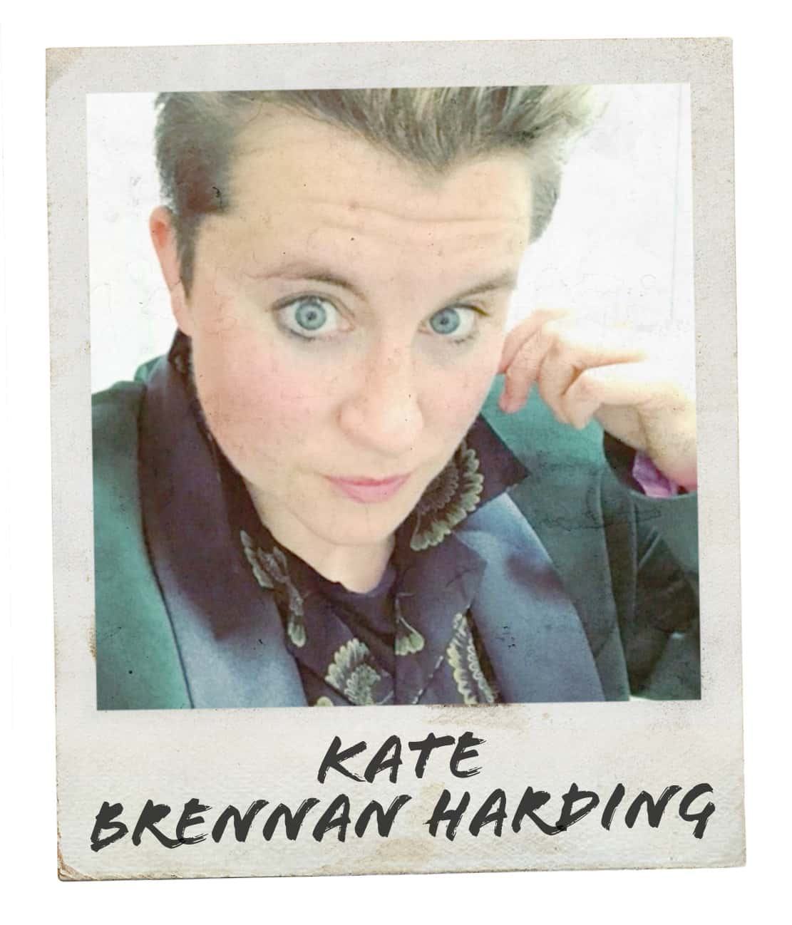 "Polaroid-style photo of blonde woman with short hair taking a selfie for #mygcn campaign. Under the photo the caption reads ""Kate Brennan Harding""."