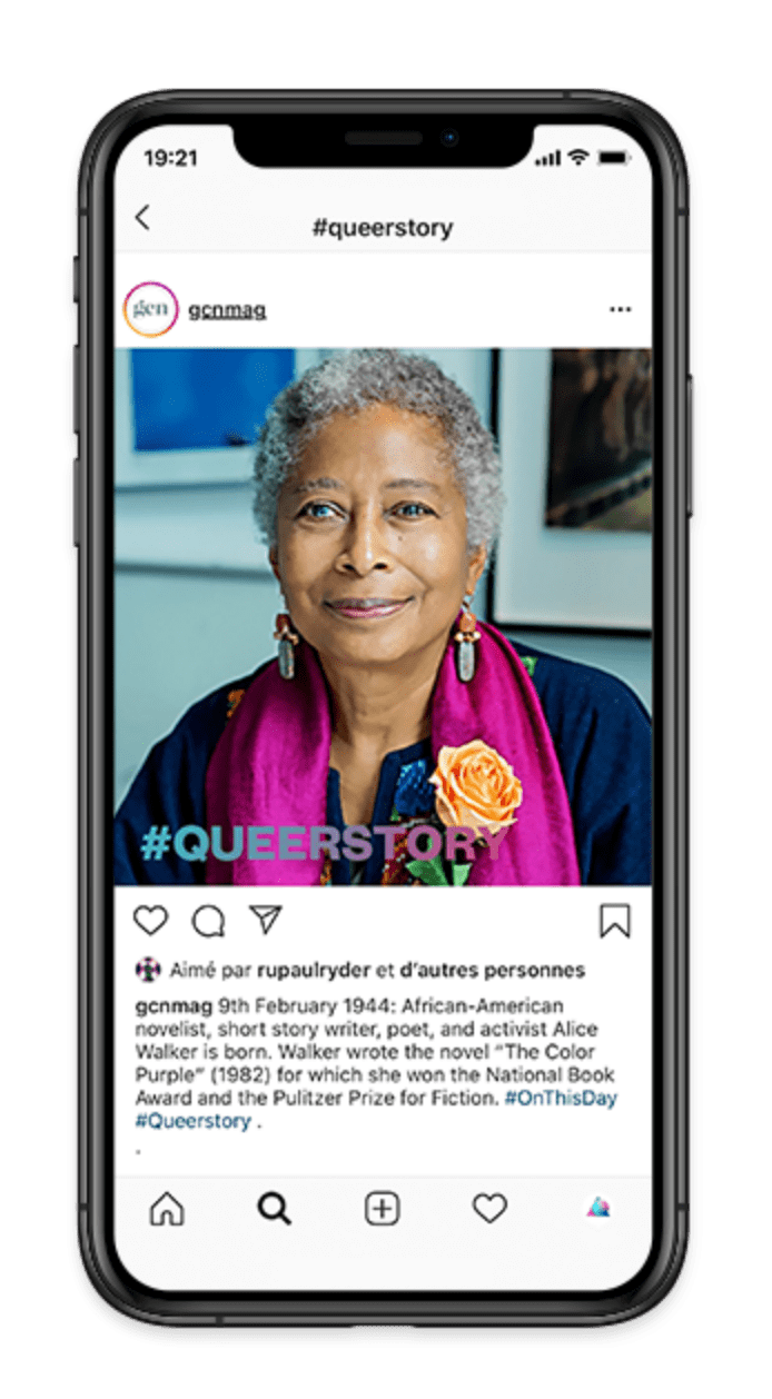 iPhone screen displaying a post from GCN's Instagram account. The post is a picture of African-american novelist Alice Walker. The #queerstory logo is running across the photo.