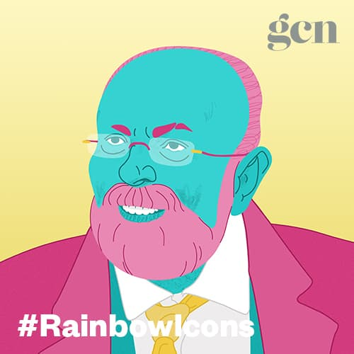 Colorful illustration of Senator David Norris. The #rainbowicons logo is running across the lower part of the illustration.