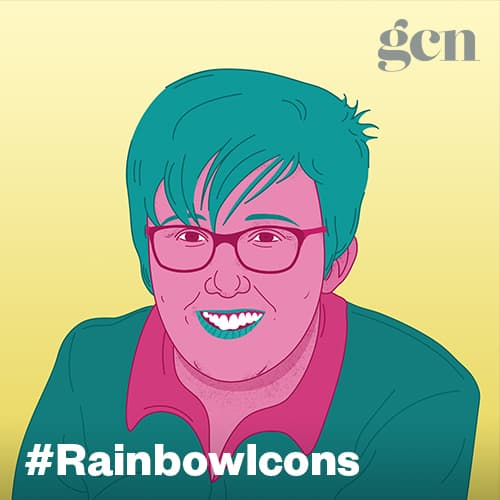 Colorful illustration of journalist Lyra McKee. The #rainbowicons logo is running across the lower part of the illustration.