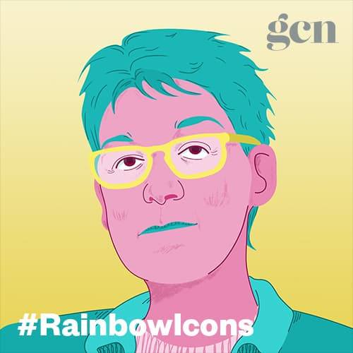 Colorful illustration of Irish activist Ailbhe Smyth. The #rainbowicons logo is running across the lower part of the illustration.