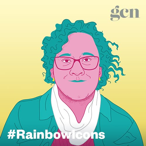 Colorful illustration of trans activist Aoife Martin. The #rainbowicons logo is running across the lower part of the illustration.